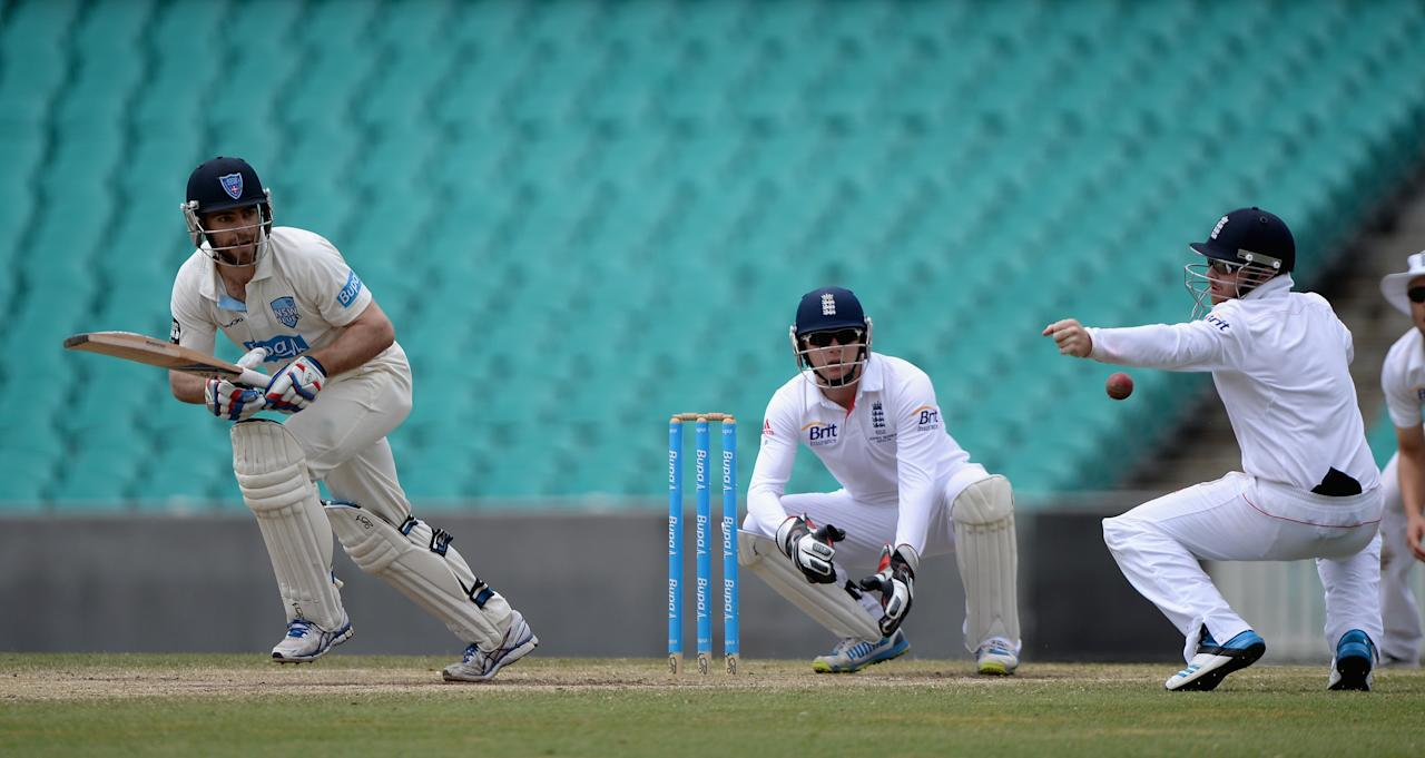 SYDNEY, AUSTRALIA - NOVEMBER 16:  Ryan Carters of CA Invitational XI bats during day four of the tour match between CA Invitational XI and England at the Sydney Cricket Ground on November 16, 2013 in Sydney, Australia.  (Photo by Gareth Copley/Getty Images)