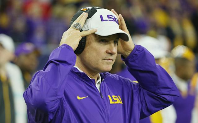 Les Miles may be returning to Baton Rouge without his whole team. (Getty Images)