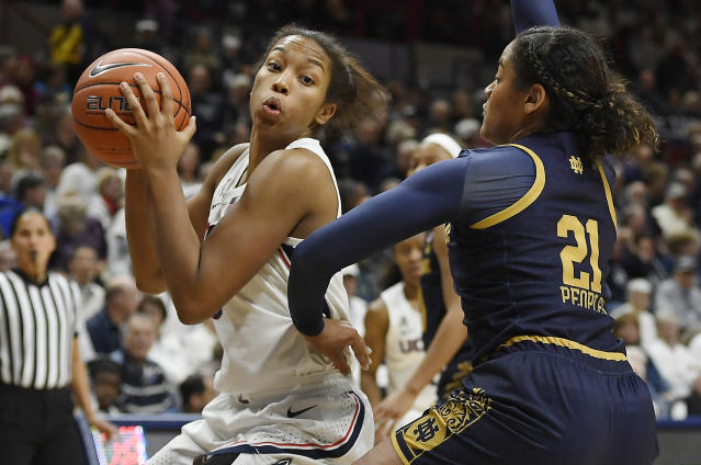 Connecticut's Megan Walker, left, is guarded by Notre Dame's Anaya Peoples, right, in the second half of an NCAA college basketball game, Sunday, Dec. 8, 2019, in Storrs, Conn. (AP Photo/Jessica Hill)