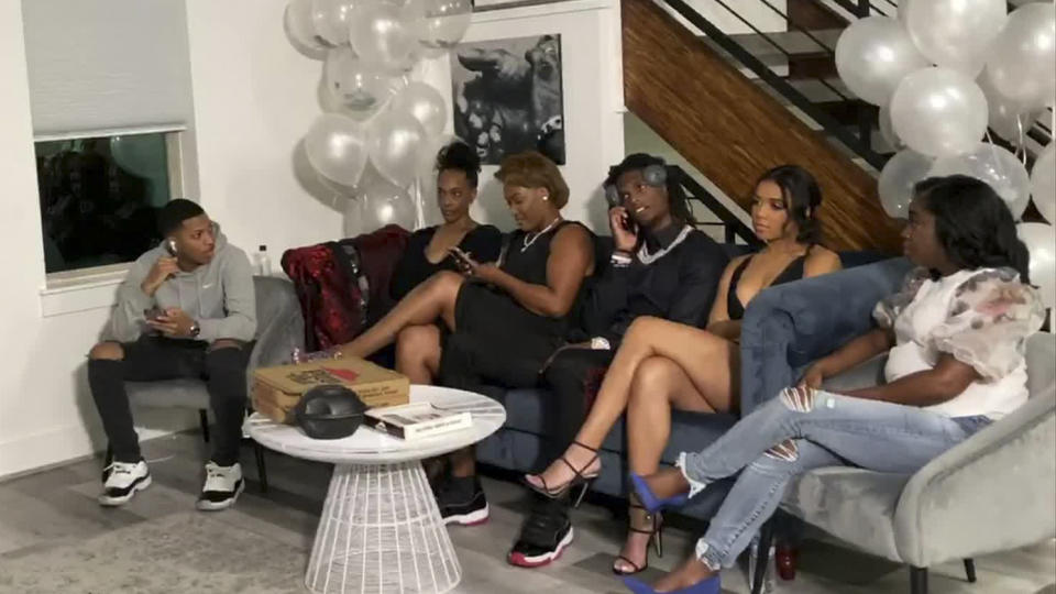 UNSPECIFIED LOCATION - APRIL 23: (EDITORIAL USE ONLY) In this still image from video provided by the NFL, CeeDee Lamb, third from right, talks on a phone after being selected by the Dallas Cowboys during the first round of the 2020 NFL Draft on April 23, 2020. (Photo by NFL via Getty Images)