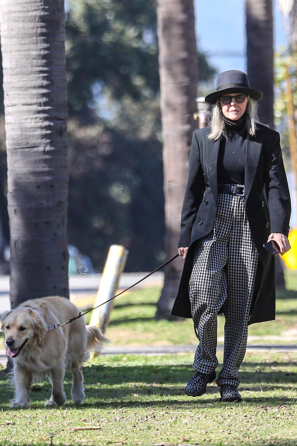 <p>Diane Keaton showcased her signature style while taking her dog out for a walk in Santa Monica, California.</p>