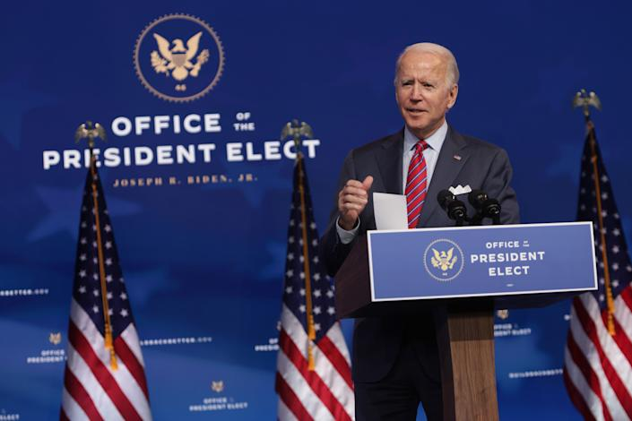 U.S. President-elect Joe Biden speaks on November job numbers at the Queen theater December 4, 2020 Wilmington, Delaware. (Alex Wong/Getty Images)