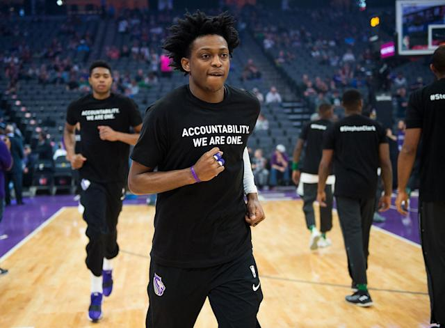 "<p>Sacramento Kings forward Justin Jackson (25) wears a T-shirt bearing the name of Stephon Clark during a game at Golden 1 Center on Sunday March 25, 2018 in Sacramento, Calif. The Kings and Celtics wore shirts bearing the name of the unarmed man, Stephon Clark, who was killed by Sacramento police. The black warm-up shirts have ""Accountability. We are One"" on the front and ""Stephon Clark"" on the back. (Photo: Paul Kitagaki Jr./TNS via ZUMA Wire) </p>"
