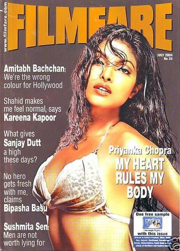 <p>On the 2004 cover of Filmfare, PeeCee is seen in wearing an animal print bikini, striking a seductive pose. The wet hair and the bronze skin definitely deserve thumbs up!</p>