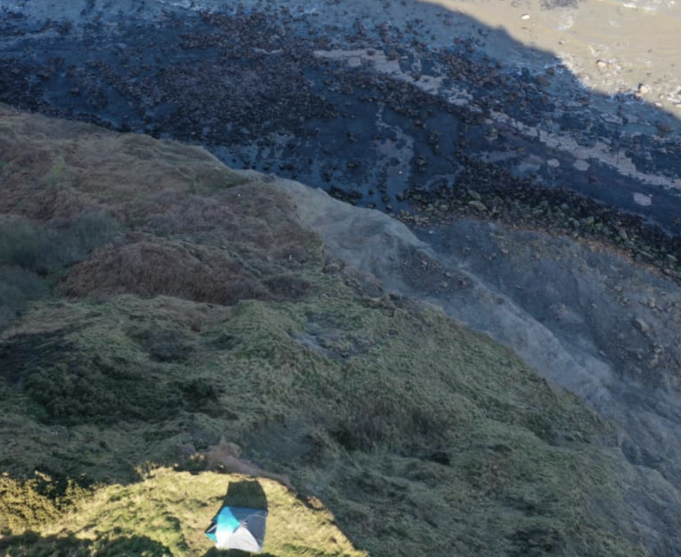 A view of the tent from a helicopter.