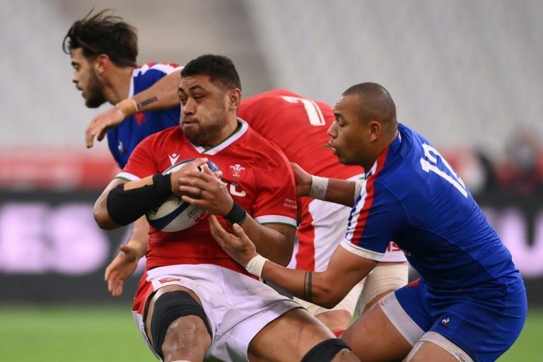On the charge - Wales No 8 Taulupe Faletau in action against France