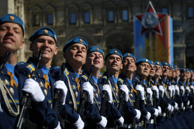 <p>Russian army soldiers rehearse before the Victory Day military parade in Moscow. The parade will take place in Moscow's Red Square on May 9 to celebrate 72 years since the end of WWII and the defeat of Nazi Germany. (Maxim Shemetov/Reuters) </p>