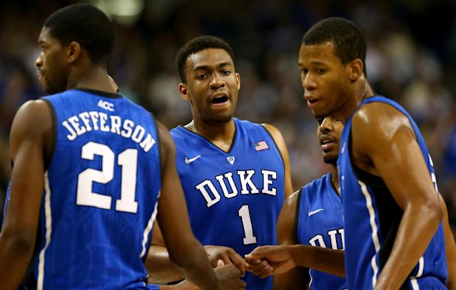 WINSTON-SALEM, NC - MARCH 05: Jabari Parker #1 of the Duke Blue Devils huddles with teammates during their game against the Wake Forest Demon Deacons at Joel Coliseum on March 5, 2014 in Winston-Salem, North Carolina. (Photo by Streeter Lecka/Getty Images)