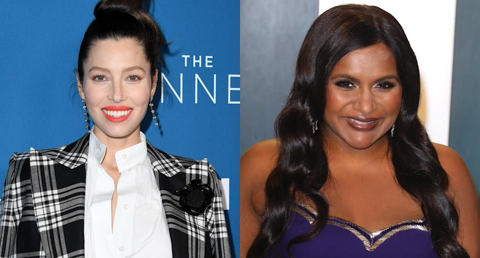 Jessica Biel and Mindy Kaling are among celebrity moms who secretly gave birth during the pandemic. (Photo: Getty Images)