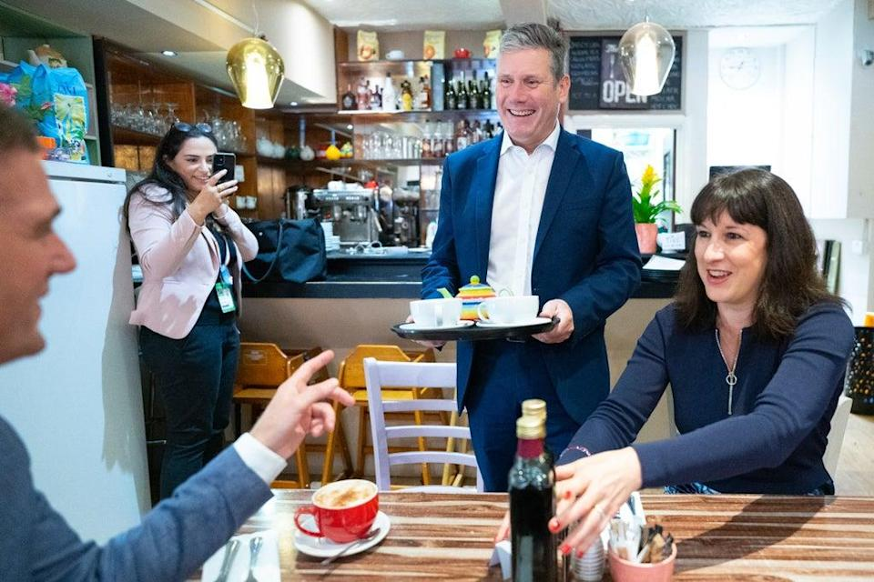 Labour Party leader Sir Keir Starmer, shadow chancellor Rachel Reeves and Hove MP Peter Kyle (Stefan Rousseau/PA) (PA Wire)