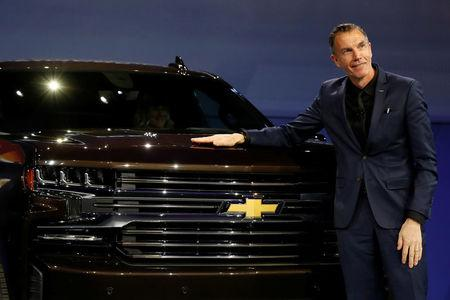 General Motors Global Design chief Michael Simcoe helps unveil new Chevy Silverado trucks at the North American International Auto Show in Detroit, Michigan, U.S. January 13, 2018.  REUTERS/Jonathan Ernst