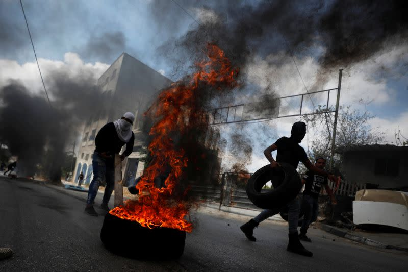 Anti-Israel protest following a funeral in the?Israeli-occupied West Bank