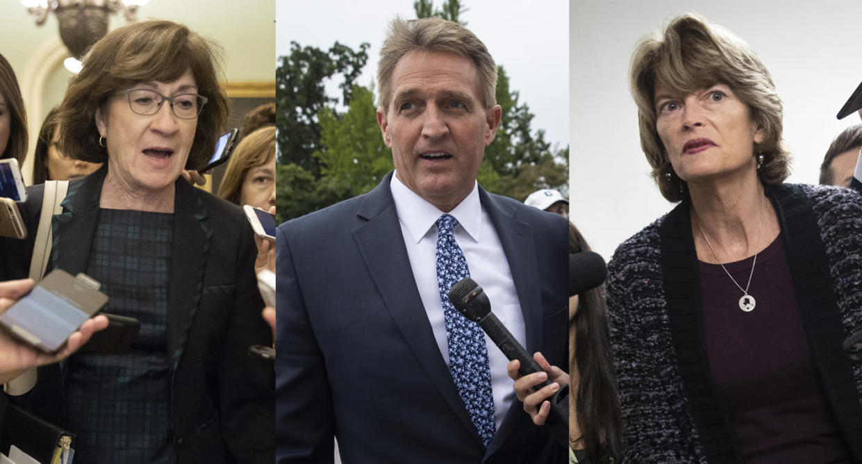 Republican senators, Susan Collins, Jeff Flake and Lisa Murkowski. (Photos: Drew Angerer/Getty Images)