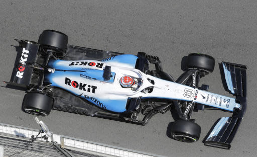 Williams driver George Russell of Britain steers his car during the first free practice at the Baku Formula One city circuit, in Baku, Azerbaijan, Friday, April 26, 2019. The Azerbaijan F1 Grand Prix race will be held on Sunday. (AP Photo/Sergei Grits)