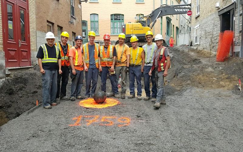 Construction workers found the cannonball in Old Quebec - Credit: Lafontaine/Facebook