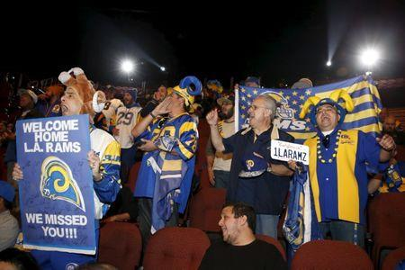 Rams fans cheer at a celebration to welcome NFL team, the Los Angeles Rams, at the Forum in Inglewood, Los Angeles, California, United States, January 15, 2016. REUTERS/Lucy Nicholson Picture Supplied by Action Images