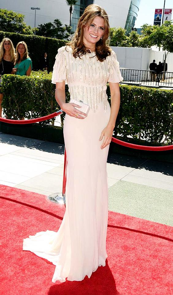 """Also in attendance at the star-studded soiree was """"Castle"""" cutie Stana Katic, who wowed in a Badgley Mischka Resort 2011 frock, which featured a bedazzled bodice and a small train. Jason LaVeris/<a href=""""http://www.filmmagic.com/"""" target=""""new"""">FilmMagic.com</a> - August 21, 2010"""