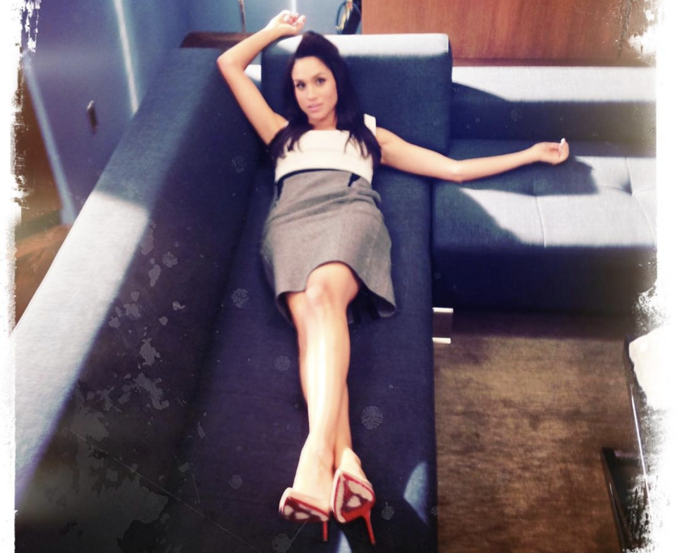 Meghan Markle on the set of Suits in a photo shared by her TV husband, Patrick J. Adams. (Screenshot: Patrick J. Adams via Instagram)