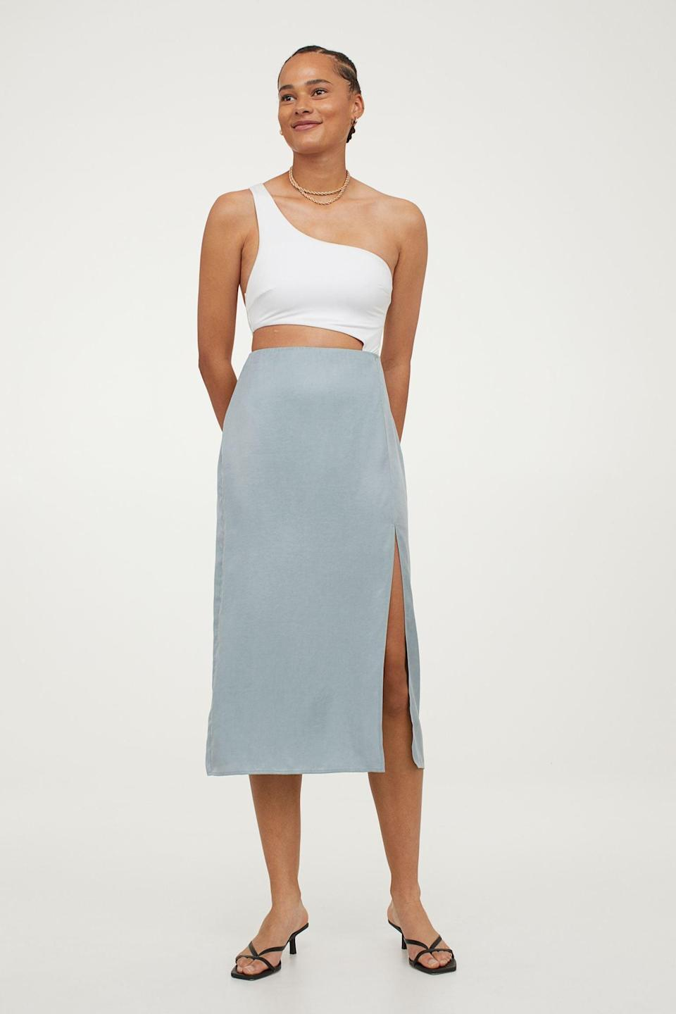 <p>There's something so elegant and refined about this <span>Lyocell Skirt</span> ($25, originally $30), we can't get enough of the silhouette. Take inspiration from the brand and style it with an asymmetrical top.</p>