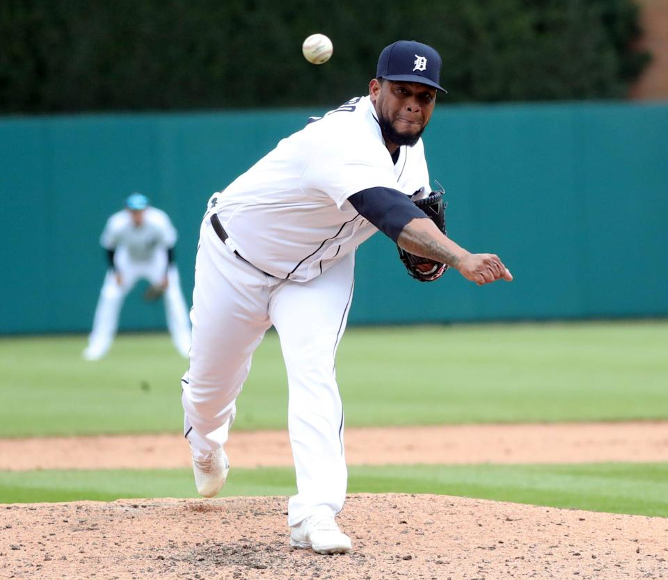 Detroit Tigers reliever Jose Cisnero pitches against the Pittsburgh Pirates during the eighth inning Thursday, April 22, 2021 at Comerica Park.