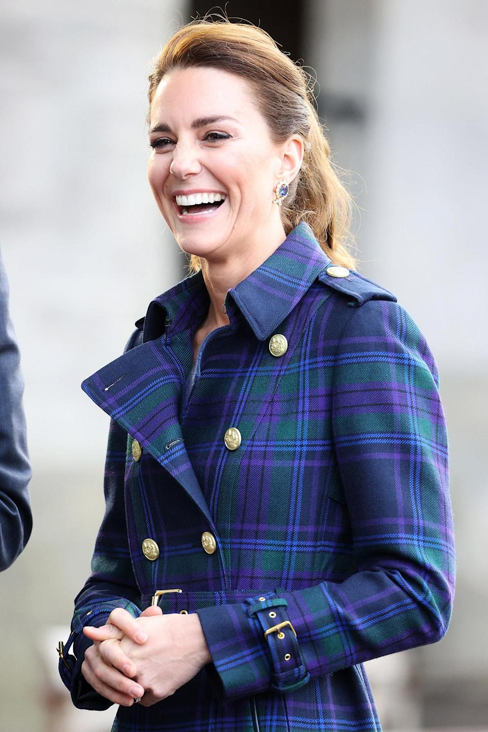 <p>Kate Middleton borrowed a pair of sapphire and diamond earrings from the Queen for a drive-in screening of Disney's <em>Cruella</em> at the Palace of Holyroodhouse in Scotland in May 2021. The Queen has previously worn the earrings with a coordinating necklace.</p>