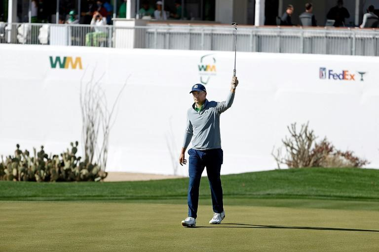 American Jordan Spieth reacts to a birdie on the 16th hole in the third round of the US PGA Tour Phoenix Open