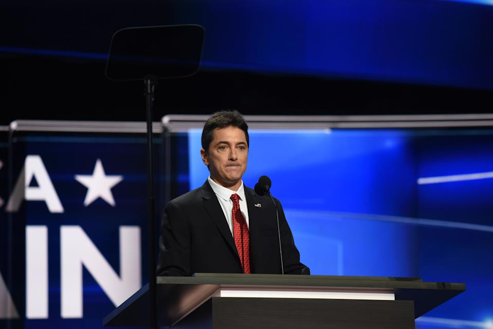 Actor Scott Baio addresses the Republican National Convention in Cleveland, Ohio on July 17, 2016.