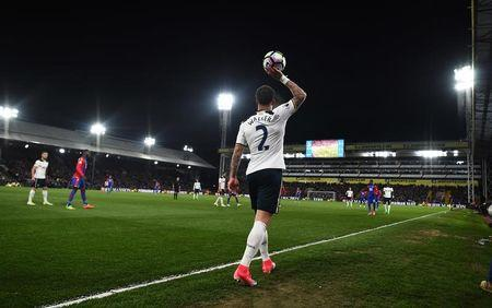 Tottenham's Kyle Walker prepares to take a throw in
