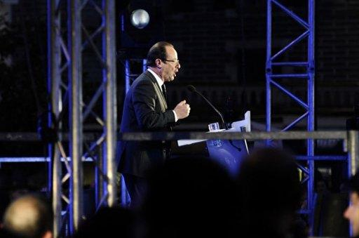Socialist Party (PS) newly elected president Francois Hollande gives a speech after winning the second round of the presidential election in Tulle, southwestern France