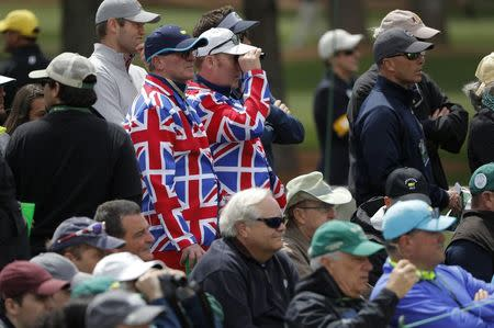 British golf fans watch from the crowd in first round play during the 2017 Masters golf tournament at Augusta National Golf Club in Augusta, Georgia, U.S., April 6, 2017. REUTERS/Jonathan Ernst