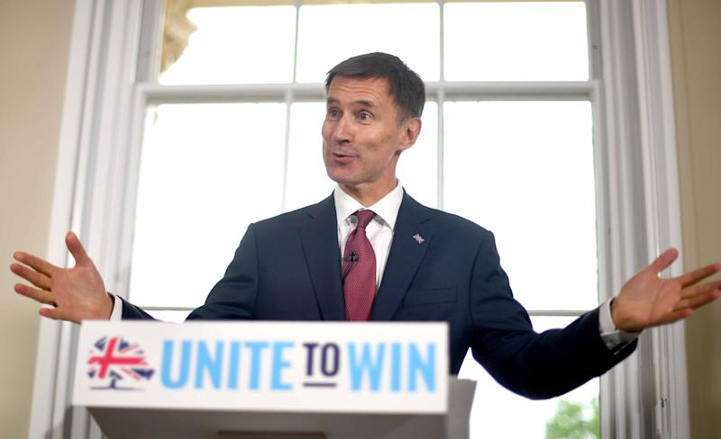 Foreign Secretary Mr Hunt launches his campaign for the Tory leadership in central London on Monday June 10. (PA)