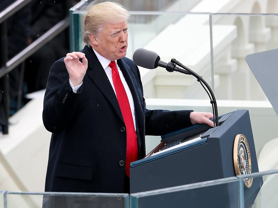 President Donald Trump delivers his inaugural address on the West Front of the U.S. Capitol n Washington DC (Getty)