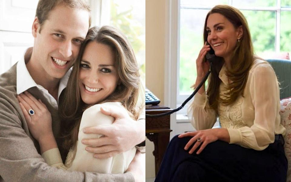 Kate and William in their engagement portraits in 2010 and the Duchess of Cambridge wearing the same blouse in a video released on Thursday