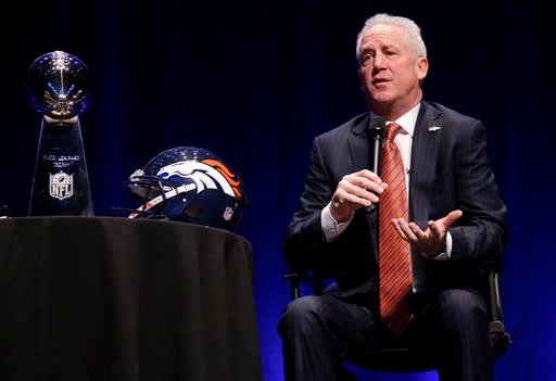 Denver Broncos head coach John Fox speaks at a news conference Friday, Jan. 31, 2014, in New York. The Broncos are scheduled to play the Seattle Seahawks in the NFL Super Bowl XLVIII football game on Sunday, Feb. 2, at MetLife Stadium in East Rutherford, N.J. (AP Photo/Matt Slocum)
