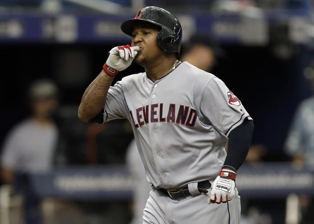 Cleveland Indians' Jose Ramirez reacts as he runs around the bases after his home run off Tampa Bay Rays starting pitcher Blake Snell during the seventh inning of a baseball game Wednesday, Sept. 12, 2018, in St. Petersburg, Fla. (AP Photo/Chris O'Meara)