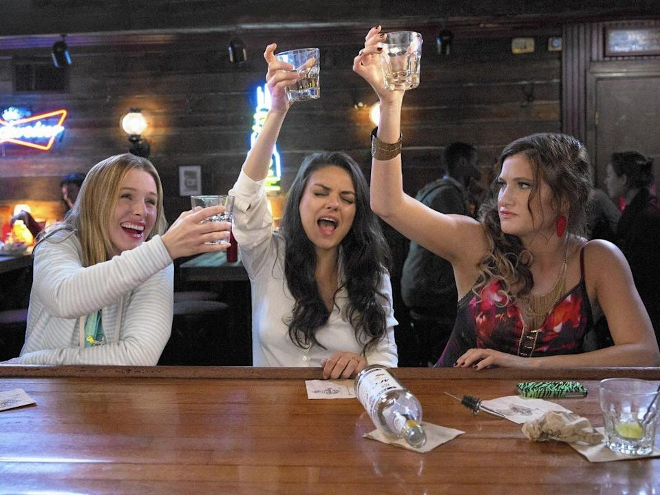 "Kristen Bell, Mila Kunis, and Kathryn Hahn appeared together in ""Bad Moms."""