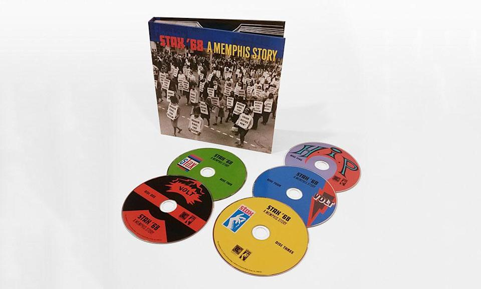 <p>1968 was an especially momentous era for this R&B/soul record label, as evidenced by this magnificent five-disc, 120-track package containing the A- and B-sides of every Stax single from that year. Among the standout artists included are Isaac Hayes, Otis Redding, Rufus and Carla Thomas, the Staple Singers, William Bell, Booker T. & The M.G.s, Johnnie Taylor, Sam & Dave, the Bar-Kays, Delaney & Bonnie and Albert King. </p>