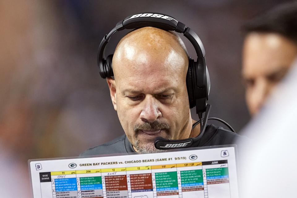 CHICAGO, IL - SEPTEMBER 05: Green Bay Packers defensive coordinator Mike Pettine reviews plays in game action during a NFL game between the Green Bay Packers and the Chicago Bears on September 05, 2019 at Soldier Field, in Chicago, IL. (Photo by Robin Alam/Icon Sportswire via Getty Images)