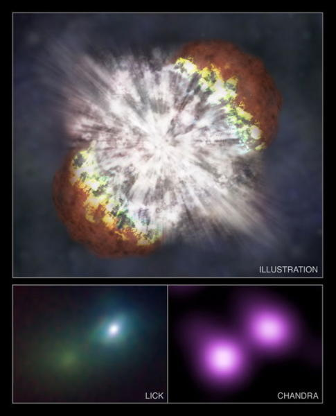 An artist's illustration of a powerful supernova, which could be the eventual fate of T Coronae Borealis.