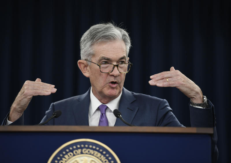 WASHINGTON, July 31, 2019 -- U.S. Federal Reserve Chairman Jerome Powell speaks during a press conference in Washington D.C., the United States, on July 31, 2019. U.S. Federal Reserve on Wednesday lowered interest rates for the first time since the 2008 global financial crisis, amid rising concerns over trade tensions, a slowing global economy and muted inflation pressures. The Federal Open Market Committee, the Fed's rate-setting body, trimmed the target for the federal funds rate by 25 basis points to a range of 2 percent to 2.25 percent after concluding its two-day policy meeting, in line with market expectation. (Photo by Liu Jie/Xinhua via Getty) (Xinhua/Liu Jie via Getty Images)