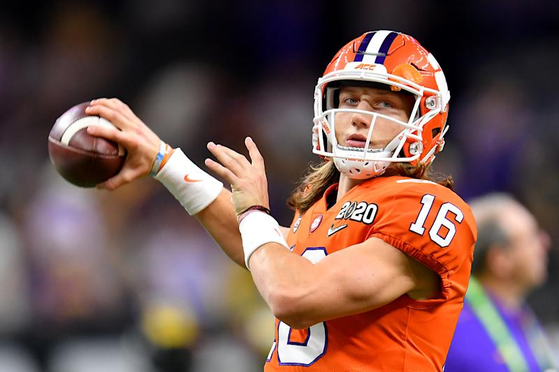 Clemson QB Trevor Lawrence warms up before the College Football Playoff title game against LSU on Jan. 13, 2020. (Alika Jenner/Getty Images)