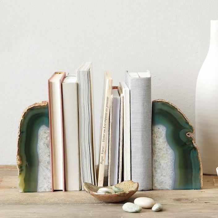 <p>If you've got lots of books, you'll be happy to have these <span>West Elm Agate Stone Bookends</span> ($25).</p>