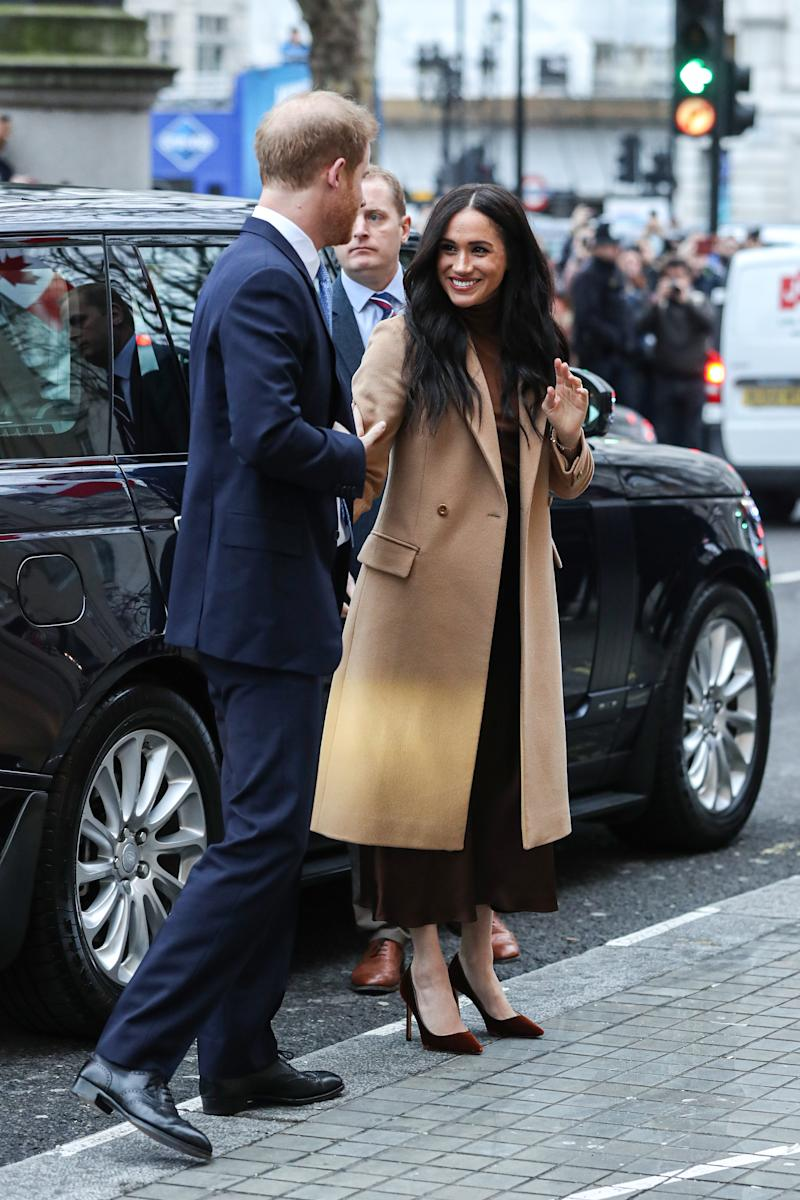 LONDON, ENGLAND - JANUARY 07: Prince Harry, Duke of Sussex and Meghan, Duchess of Sussex arrive at Canada House on January 07, 2020 in London, England. (Photo by Chris Jackson/Getty Images)