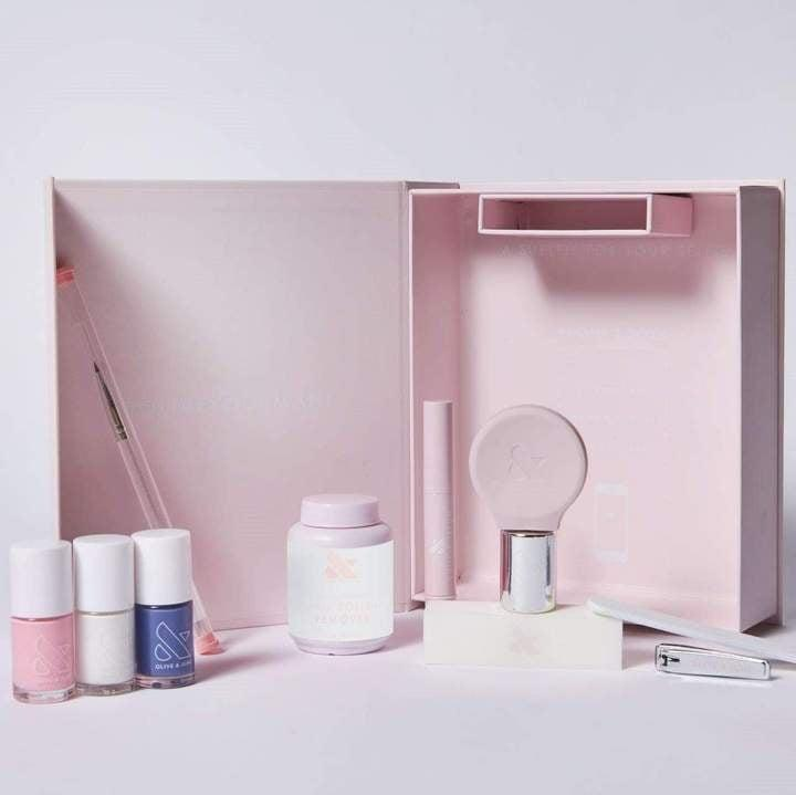 <p>Everything you need to do your nails at home so that you can sit back and relax comes in this <span>Olive and June The Everything Box Manicure Set</span> ($88).</p>