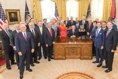 "Friends of Zion Present Award to Vladimir Putin. In December 2017, President Donald Trump received the ""Friends of Zion Award"" in the Oval Office from Mike Evans (Photo Credit: White House)"