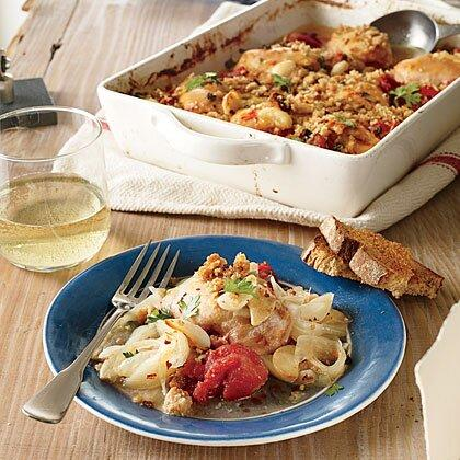 """<p>Meet your new Sunday supper--a dish that's great on the weekend, when you have more time for the pleasures of slow cooking. Serve on crusty toast slabs or a bed of pasta. Add a pinch of crushed red pepper if you'd like a little kick.</p> <p><a href=""""https://www.myrecipes.com/recipe/slow-baked-chicken-thighs"""">Slow-Baked Chicken Thighs with Tomato, Fennel, and Lemon Recipe</a></p>"""