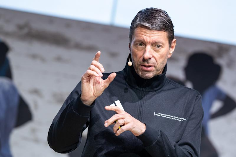 Kasper Rorsted, chairman of German sporting goods maker Adidas, speaks during his company's annual press conference on March 13, 2019 in Herzogenaurach, southern Germany. - Adidas said it booked vaulting profits in 2018, but crimped its expectations for this year as it runs into limits on production capacity. (Photo by Daniel Karmann / dpa / AFP) / Germany OUT (Photo credit should read DANIEL KARMANN/AFP/Getty Images)