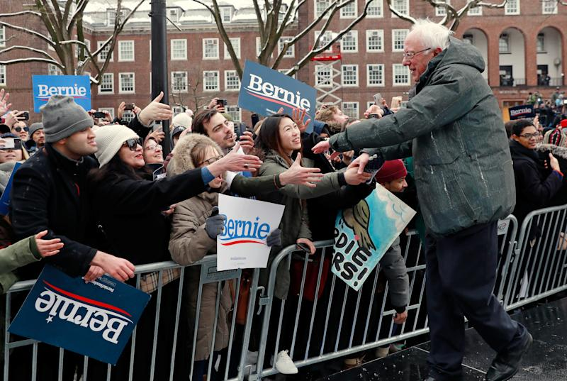 Sen. Bernie Sanders greets supporters after his announcing his 2020 presidential bid at Brooklyn College in New York on March 2, 2019. (Photo: Andrew Kelly/Reuters)