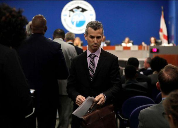 PHOTO: Max Schachter walks from the podium after speaking during a meeting of the Broward County School Board, March 5, 2019, in Fort Lauderdale, Fla. (Lynne Sladky/AP, FILE)