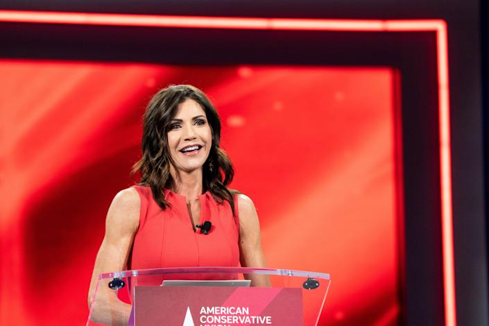 Gov. Kristi Noem of South Dakota speaks at the Conservative Political Action Conference in Orlando, Fla., Feb. 27, 2021. (Erin Schaff/The New York Times)